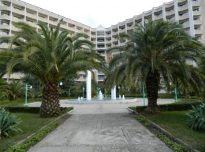 Многоэтажное здание пансионата Самшитовая роща с пальмами во дворе
