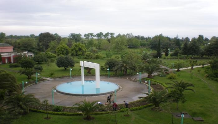 Большой зеленый парк с круглой площадкой и аллеями