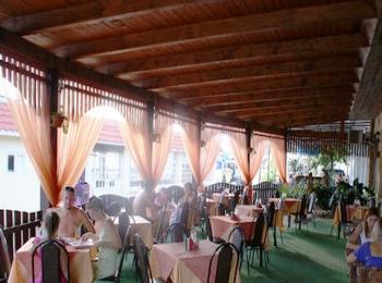 Открытый зал аккуратного кафе Ласточка возле гостиницы