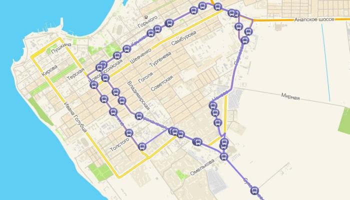 Путь на карте маршрутного такси №109