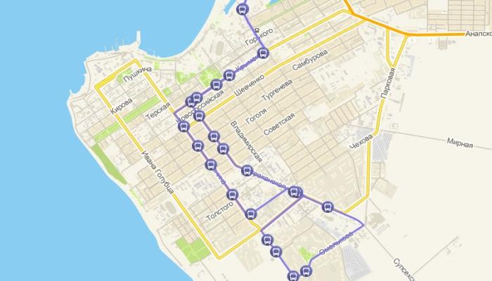 Дорога маршрутки №114 в Анапе на карте