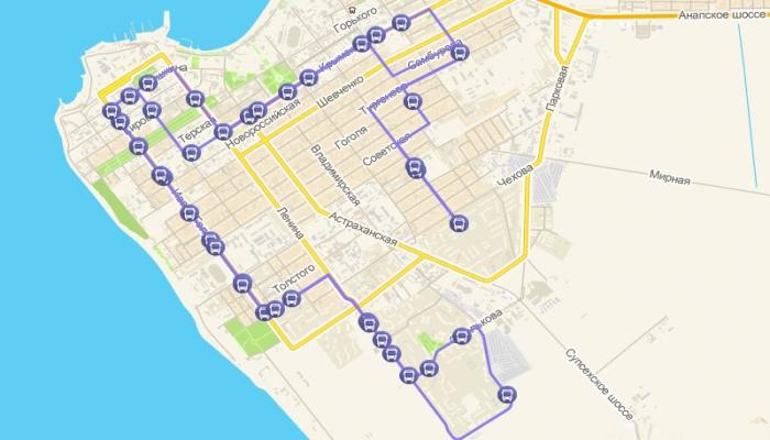 Изображение пути анапского маршрутного такси №24
