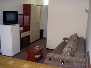 Номер гостиницы с телевизором, диваном, столиком для журналов и холодильником
