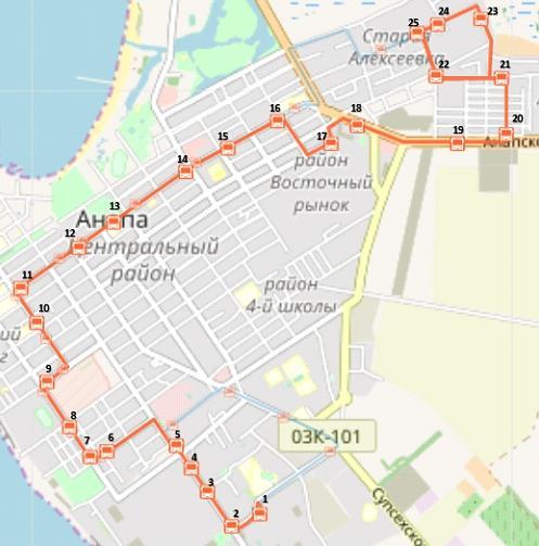 Схема движения маршрутного такси №17 в Анапе
