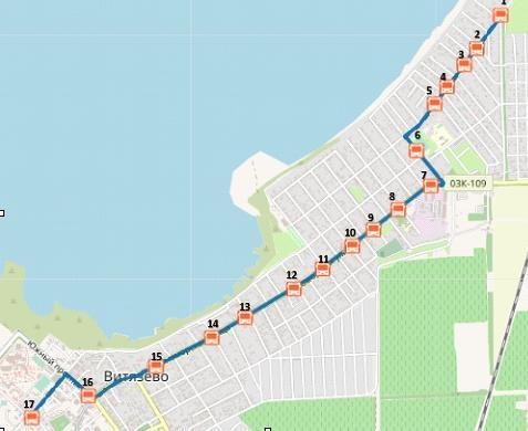 Схема проезда маршрутного такси №23 в Анапе