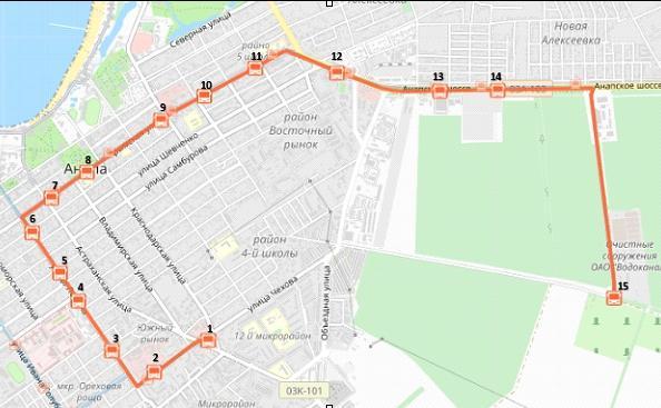Схема проезда маршрутного такси №11 в Анапе