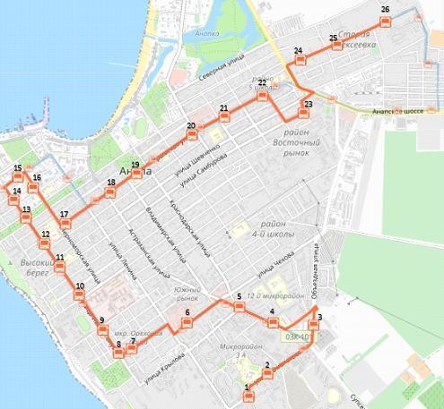Схема движения маршрутного такси №2 в Анапе