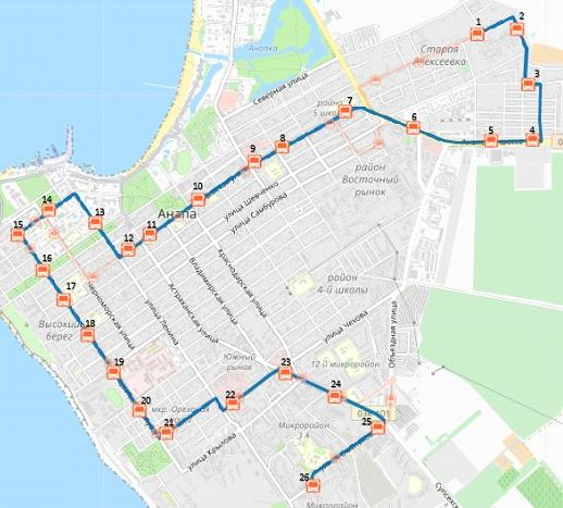 Схема следования маршрутного такси №2 в Анапе