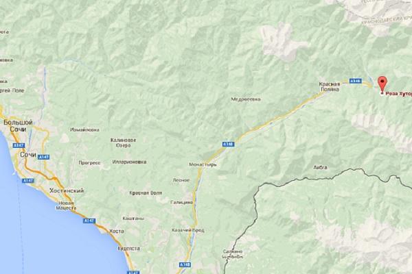 Карта местонахождения курорта Роза Хутор