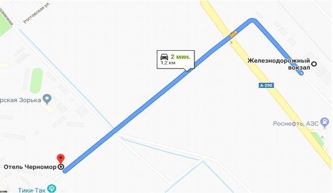 """Карта подъезда к гостинице """"Черномор"""" (Анапа)"""