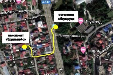 Карта окрестностей гостиницы Эдельвейс