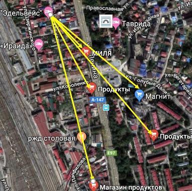Карта расположения продуктовых магазинов вокруг гостевого дома Эдельвейс