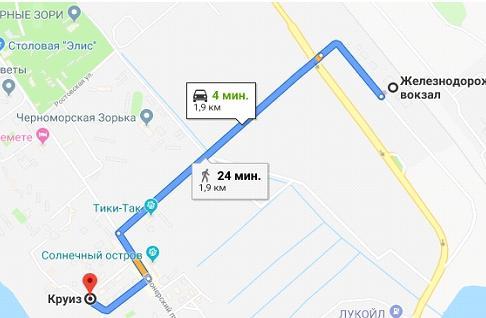 """Схема проезд к отелю """"Круиз"""" (Анапа)"""